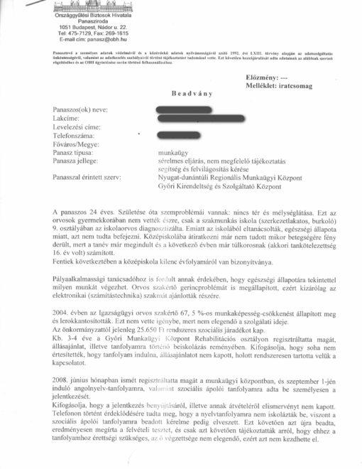 Beadvány (1.o.) (A országgyülési biztosnál!)